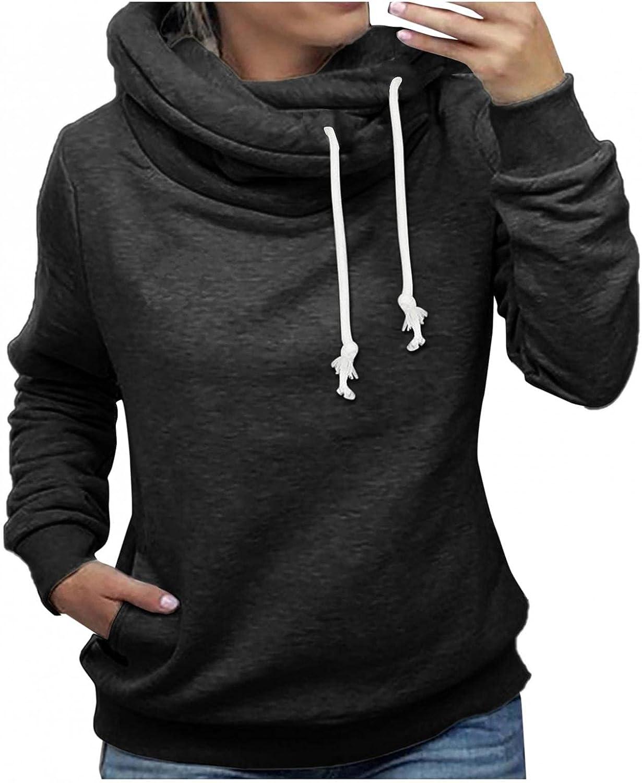 LEIYAN Womens Turtle Cowl Neck Hoodies Long Sleeve Lightweight Drawstring Solid Loose Fit Thermal Sweatshirts Pullover