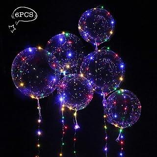 Pomisty Globo LED Transparente con Luces Globos de Látex 18 Pulgadas con LED Muticolores, Innovadores Globos Románticos de Decoración para Fiesta, Cumpleaños, Boda, Navidad, Carnaval