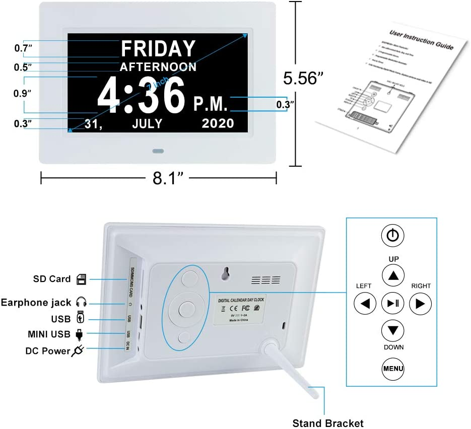 7 INCH Day Date Dementia Clock Auto-Dimming 12 Alarm Reminders Extra Large Non-Abbreviated Day /& Month 12//24 Hours Display Digital Calendar Clocks for Seniors Elderly Vision Impaired Memory Loss