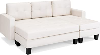 Best Choice Products Tufted Faux Leather 3-Seat L-Shape Sectional Sofa Couch Set w/Chaise Lounge, Ottoman Coffee Table Bench, White