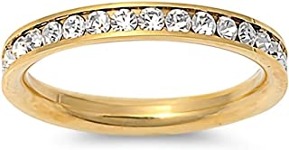 Glitzs Jewels Premium Stainless Steel Ring (Eternity, Yellow Gold Tone) (Clear CZ) | Jewelry for Men and Women in Gift Box