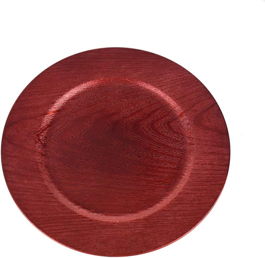 Homeford Plastic Round Charger Plate security Wood Max 79% OFF 13-Inch Red Grain