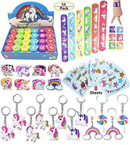 Unicorn Theme Party Favor For Kids-96Pcs Unicorn Tatoo-24Pcs Unicorn Stamper-27 Pcs Unicorn Rings Necklace Keychain-Unicorn Birthday Party Supplies