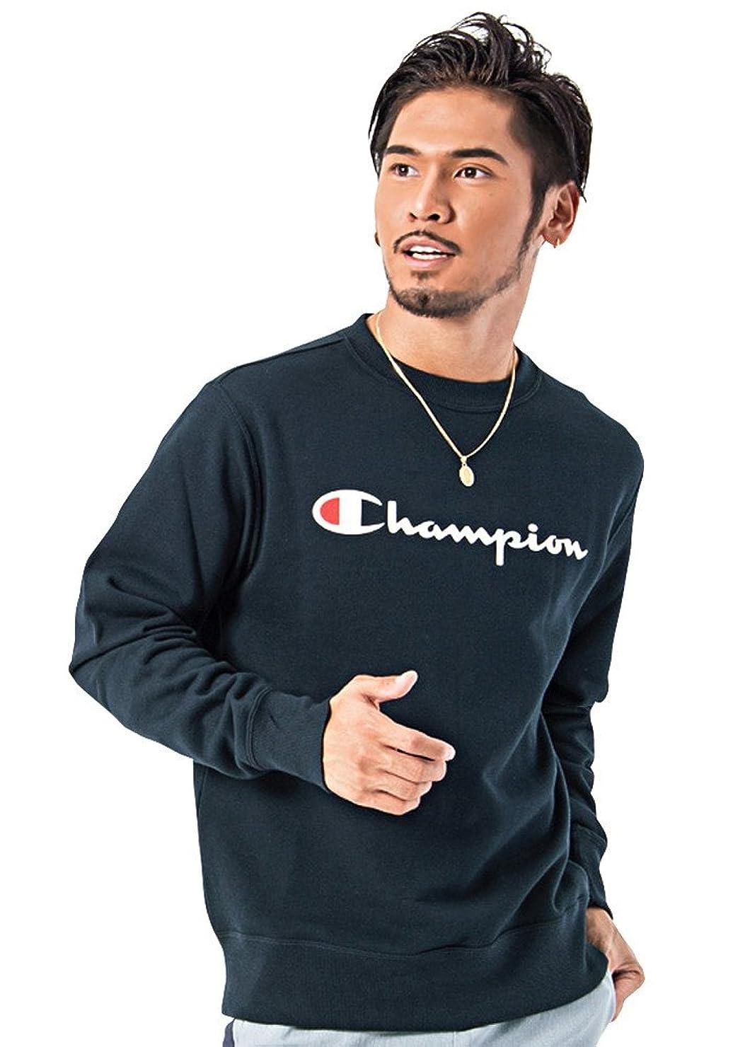 気分が良い原子炉お尻(チャンピオン)Champion メンズ フルロゴ クルーネック スウェット トレーナー (トップス インナー) L 370(NAVY/ネイビー)