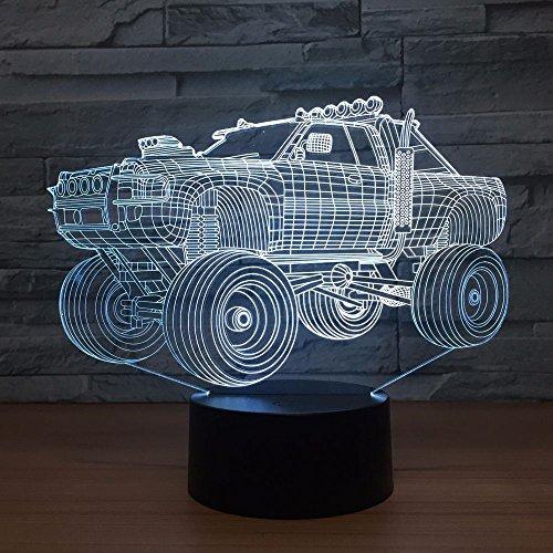 Multicolor tridimensional vehículo todoterreno 3D lámpara de mesa regalo de los niños que cambia de color visual luz nocturna coche | regalo de juego de iluminación de sala de ilusión