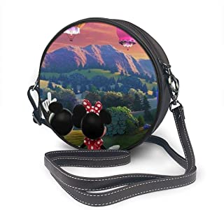 Women's Lightweight Crossbody Bag Hot Air Balloon Mickey And Minnie Leather Round Purses Shoulder Bag