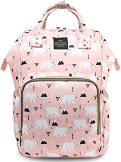 HaloVa Diaper Bag, Diaper Backpack, Mommy Baby Bag, Large Capacity Travel Backpack, Insulated Feeding Bottle Pockets and Wet Clothing Pocket, Pink Bear