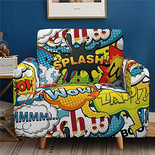 SONGHJ Single-Sided Digital Printing Universal Sofa Cover, Dust-Proof, Non-Slip High Elastic Sofa Cover 1 2 3 4-Seater