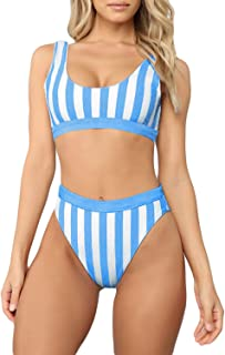 Chase Secret Women's Push Up Striped Printed High Waisted Cheeky Two Piece Swimsuits Bikini Set