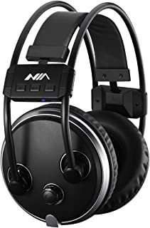 Fm Radio Stereo Headset Bluetooth Wireless Headphones Hearing Protectors Earmuffs Micro SD Card Mp3 Player Built-in Lithium Battery and Microphone(Black)