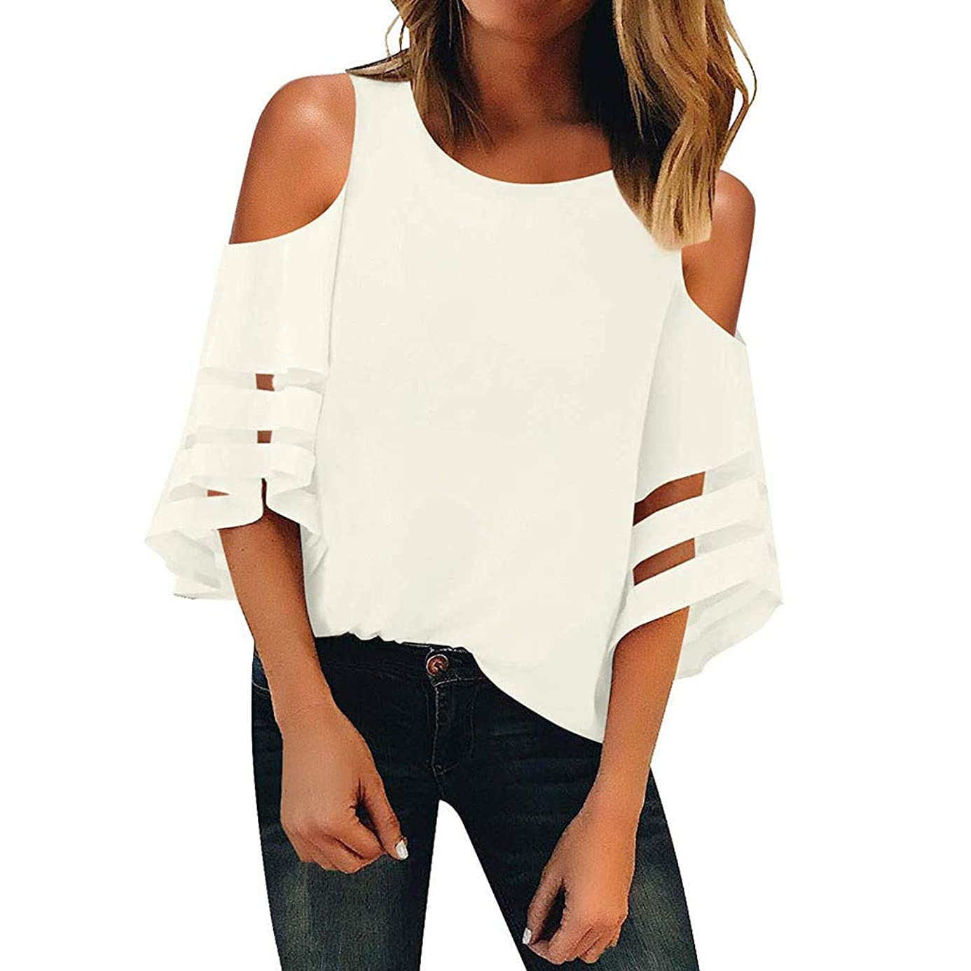 Women Tops Off Shoulder O Neck Solid Mesh Panel Blouse Casual Loose Shirt Top