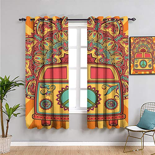70s Party Decorations Printed Soundproof Privacy Window Curtains, Curtains 72 inch Length Hippie Vintage Mini Van Ornamental Backdrop Peace Sign Cafe Curtain Coral Orange Turquoise W63 x L72 Inch