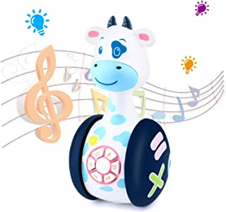 Tinabless Baby Musical Toys, Cow Baby Tumbler Toy with Music and LED Light Up for Infants, Toddler Interactive Learning Development, Best Gifts