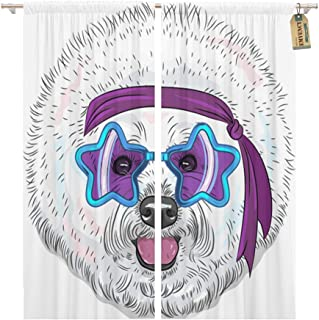 Emvency Window Curtains 2 Panels Rod Pocket Drapes Satin Polyester Blend Bandana Hipster Star Disco Dog Bichon Breed in Glasses Headband Cartoon Living Bedroom Drapes Set 104 x 96 Inches