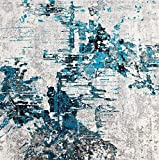 Luxe Weavers Abstract Turquoise 5x7 Area Rug