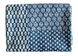 Mango Gifts Indigo Color Hand Block Printed Kantha Quilt, Twin Size Patchwork Cotton Bedspread, Made By Artisans of India 60 X 90 Approx Inches by Mango Gifts
