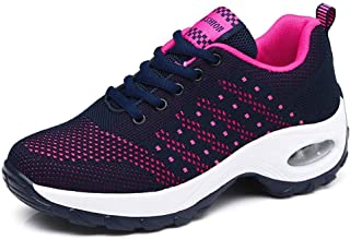 Veveca Women Casual Walking Athletic Non Slip Sport Shoes Running Shoes Lightweight Fashion Air Fitness Sneakers Blue Red