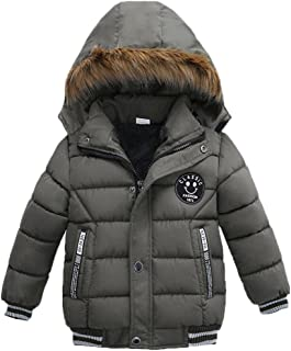 Sagton Coat for Kids Boy Girl, Solid Thick Coat with Cap Padded Winter Jacket