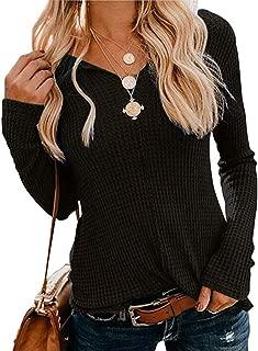 ORANDESIGNE Women Waffle Knit Tunic Blouse Tops Long Sleeve V Neck Plain Shirts