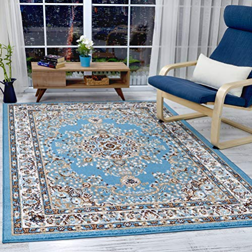 Antep Rugs Siesta Collection Traditional Oriental Polypropylene Indoor Area Rug (Blue/Beige, 8' X 10')