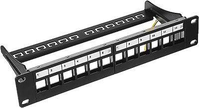 uxcell 12-Port Keystone Blank Patch Panel RJ45, USB, HDMI, Cat5e Cat6 Rackmount Shielded 10 Inch