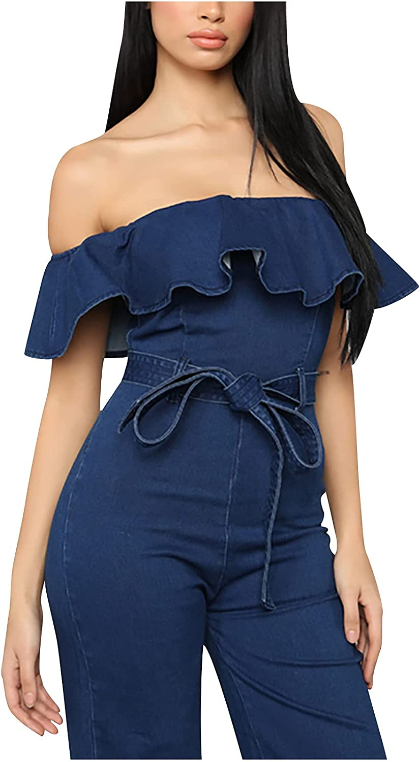 Rompers Jumpsuits for Women Elegant Sexy Off Shoulder Ruffled Tight Fitting Hip Washed Denim Jumpsuit