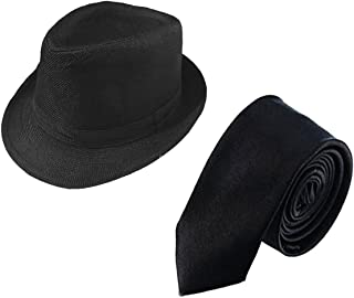 1920s Mens Gatsby Gangster Costume Accessories Set Panama Hat and Tie for Gangster Theme Party,Halloween,Christmas