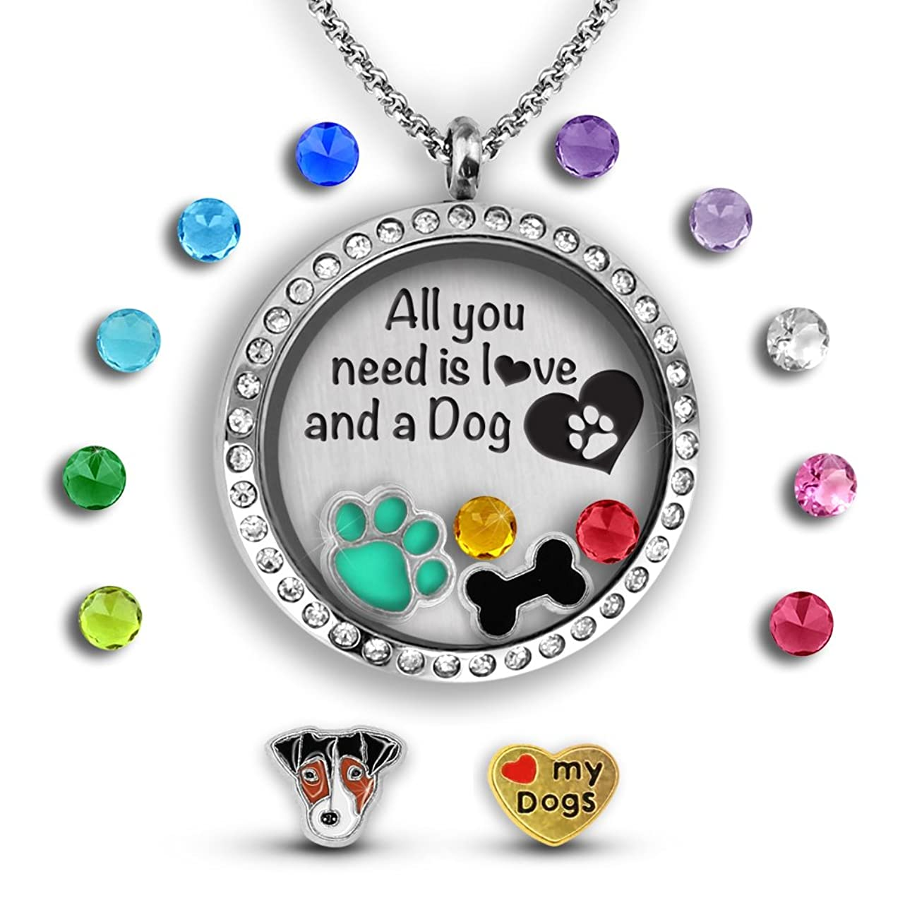 A Touch of Dazzle for a Dog Lovers | Dog Mom Gifts Dog Lover Gifts for Women for Dog Mom Dog Jewelry for Women Gifts for Dog Lovers | Floating Charm Necklace for Dog Grandma