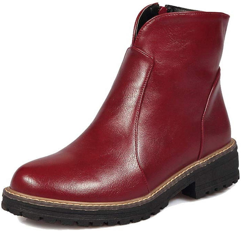 WeiPoot Women's Solid Low-Heels Round-Toe Pu Zipper Boots, EGHXH119555