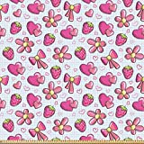 ABAKUHAUS Pink und Weiß Stoff als Meterware, Kindheit