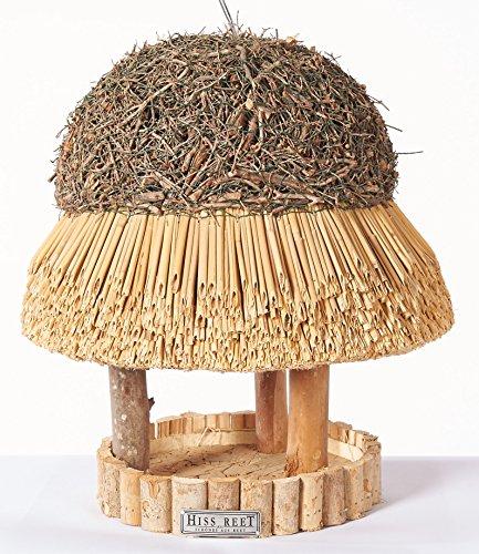 Vogelhaus SYLT mit Reetdach Futterhaus Futterstation -30 cm- traditionell eingedeckt