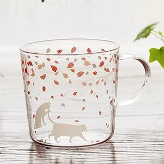 Sakura Glass Mug with Handle,Cute Cat Printed Borosilicate Glass Cup Chocolate Pudding Cup for Kids Drinking Tea, Latte, Espresso, Juice,Milk(310ml,10.1OZ)