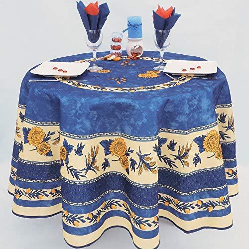 Villages de Provence - Nappe Antitache Ronde - Infroissable et 100% Polyester - Bleu - Ø 180 cm - Tournesol Abeille - 6/8 couverts - Intérieur ou Extérieur - Table à Manger, Cuisine ou Jardin