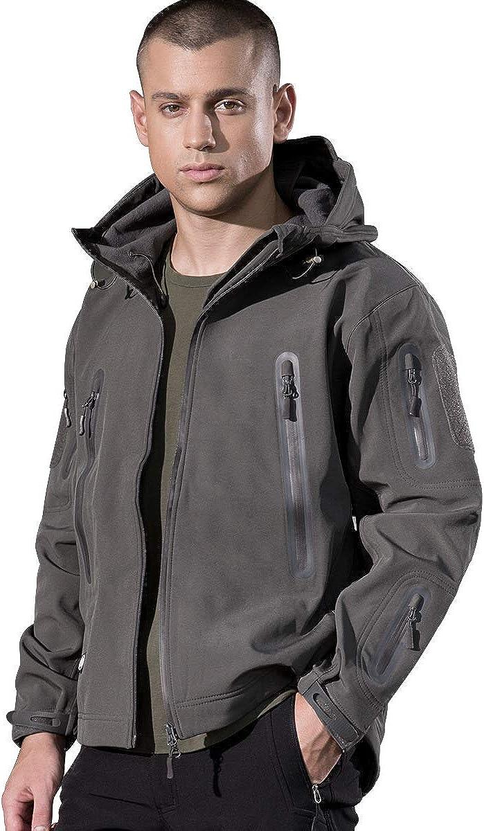 FREE SOLDIER Men's Tactical Jacket Glued Zipper Water Resistant Fleece Jacket for Winter Lightweight Wind Breaker Jacket Breathable Hiking Climbing Jacket (Gray, XL)