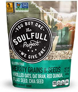 Sponsored Ad - The Soulfull Project Instant Oatmeal Multi-Serve Bag, Hearty Grains & Seeds, 14.1 Ounce (Pack of 6), Non GM...