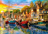 Jigsaw Puzzles for Adults 1000 Piece Puzzles Large Piece Funny Difficult Puzzle for Adults Boats and Houses at Dusk Family Decoration Puzzle Games Gift (27.56' x 19.69')