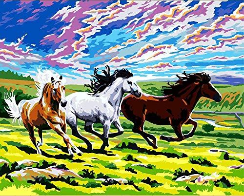 YJJPP Laufendes Pferd Galopp Tier DIY Digitales Malen nach Zahlen Moderne Wandkunst Leinwand Malerei Einzigartiges Geschenk Raumdekor 40x50cm Gerahmt