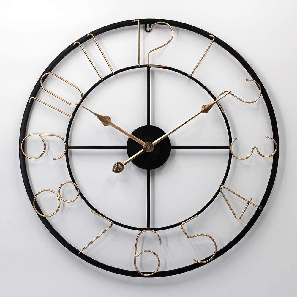 HMIBO 24Inch Large Distressed Metal Non-Ticking Quiet Modern Industrial Style Arabic Numbers Iron Wall Clock for Home, Living Room, Kitchen Indoor Decor