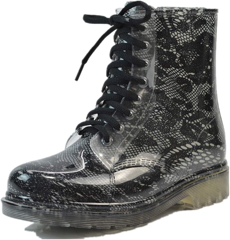 Super color Women's Waterproof Rain Boots Lace up Fashion Non-Slip Floral Print Snow shoes Garden Booties