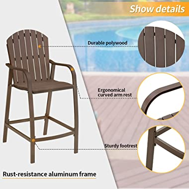 Crestlive Products Patio Wood Bar Stools Counter Height Chairs All Weather Furniture with Heavy Duty Aluminum Frame & Pol