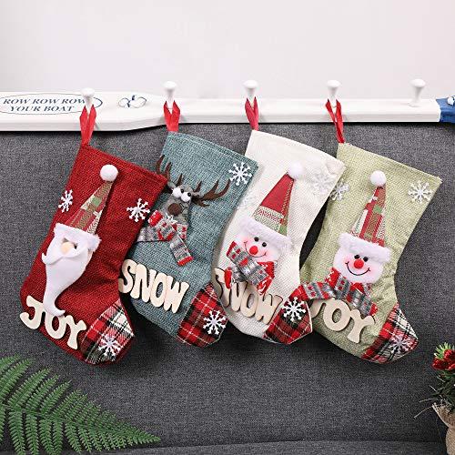 Hanger Ornamenten Kerstmis Snoep Gift Bag,4 PCS Kerst Kousen Decoratie Kerstman Herten Kerstmis Open Haard Decoratie