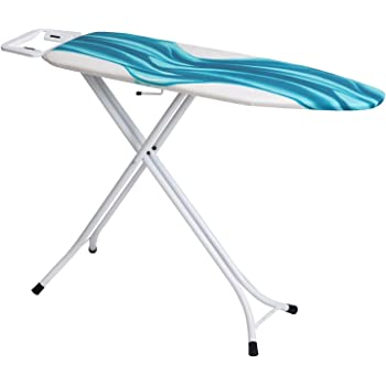 Mabel Home Ironing Board, Adjustable Height, Deluxe, 4-Leg + Extra Cover, Blue & White Patterned