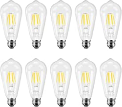 DiCUNO Dimmable Vintage Edison LED Bulb 6W (60W Equivalent), Daylight White 4500K 700 Lumens Medium E26 Base, Antique ST64 Squirrel Cage Edison Filament Light Bulb 10-Pack