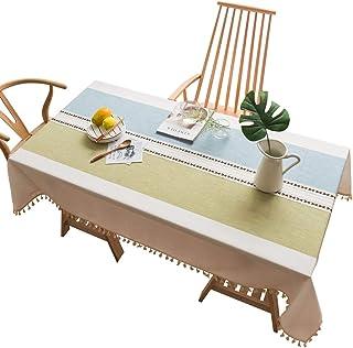 JUSTDOLIFE Nappe de table de salle à manger décorative de couverture de table de gland antipoussière bicolore