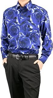 [UNITED GOLD] ドレスシャツ 長袖 メンズ ラグジュアリー バラ柄 プリント 薔薇 花柄 日本製 N9002