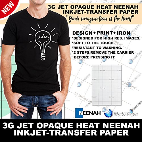 Iron ON Heat Transfer Paper 3G Jet Opaque 11 x 17' Custom Pack 50 Sheets