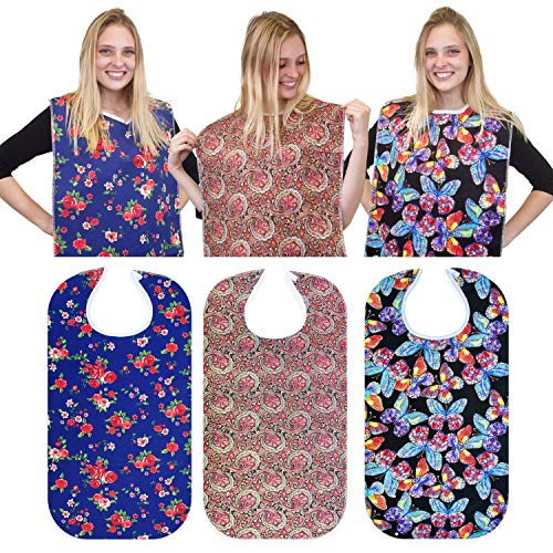 RMS 3 Pack Adult Bib Washable Reusable Waterproof Clothing Protector with Optional Crumb Catcher and Vinyl Backing 34