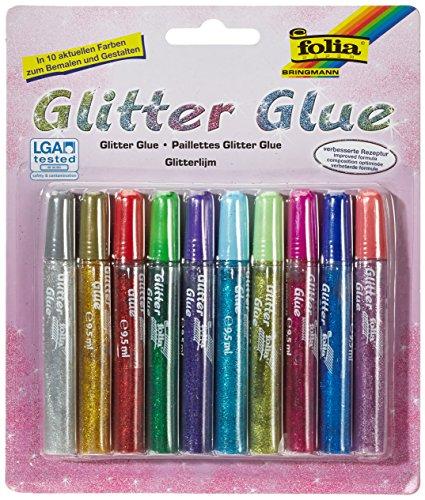 Folia 574 - glitter lijm, lijmstiften met glitter, 10 stiften gesorteerd in 10 kleuren, elk 9,5 ml - om te beschilderen en te versieren