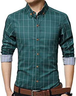 YTD Men's 100% Cotton Long Sleeve Plaid Slim Fit Button Down Dress Shirt