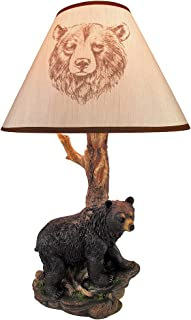 Black Bear and Tree Table Lamp with Shade 20 In.